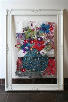 "Textielcollage ""Bloemstilleven no Fabric Art, Textile Art, Artsy Fartsy, Collages, My Arts, Textiles, Frame, Art Work, Diy"