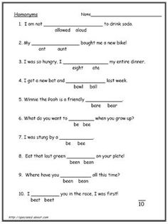 These 10 Worksheets Explain the Difference Between  Homonyms and Homophones: Worksheet # 1