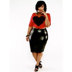 e9380051a2b7d Faux Leather High Waist Skirt - What s Hot. Plus Size ...