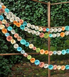 Orange, Coral, Teal & Recycled Book Page Paper Flower Garland