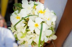 Bridal bouquet with white frangipanis