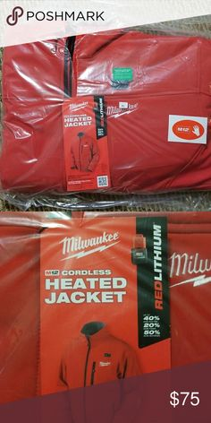 cordless heated jacket M12 red cordless heated jacket. DOES NOT COME WITH BATTERY...both are  new 1 still in plastic milwaukee Jackets & Coats Utility Jackets