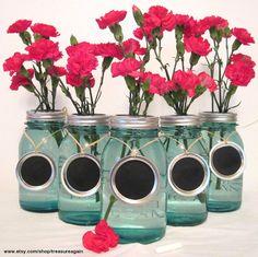 Chalkboard Wedding Table Numbers 5 Mason Jar by treasureagain, $15.00