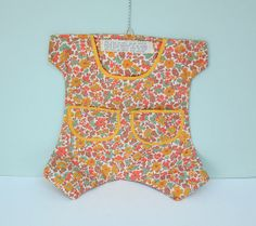Vintage Sewing Storage Bag Shaped Like a Romper with Pin Cushions, Pockets and a Typewritten Poem