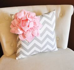 Decorative Pillow Light Pink Corner Dahlia on Gray and White Chevron Pillow 14 X 14