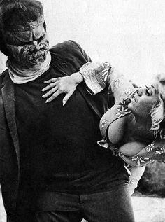 John Bloom as Frankenstein's Monster and Regina Carrolas Judith Fontaine in Dracula vs. Frankenstein (1971)
