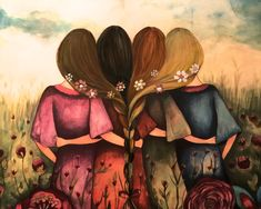 The four sisters best friends brisdemaid present art print by claudiatremblay on Etsy saw this and thought of us Four Sisters, Sisters Art, Best Friend Drawings, Bff Drawings, 4 Best Friends, Best Friends Forever, Three Friends, Claudia Tremblay, Art Actuel