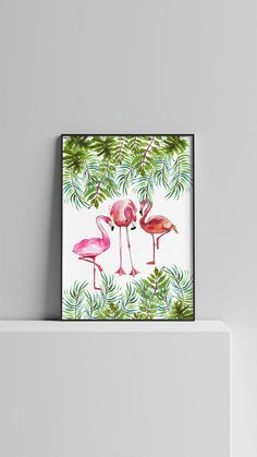 Summer Watercolor Print Flamingos Digital Wall art Summer
