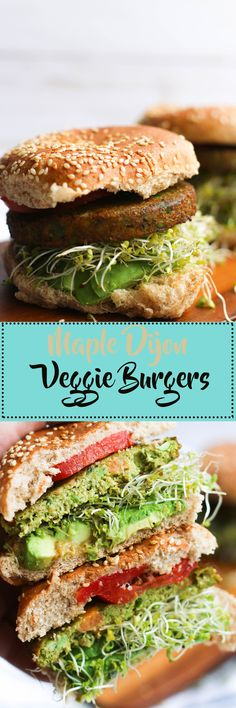 These maple dijon veggie burgers are vegan, gluten free friendly, and full of flavor! Made with simple ingredients and ready in 5 minutes, they're a great quick meal option.