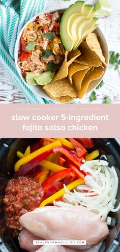 Slow Cooker Fajita Salsa Chicken — Real Food Whole Life The perfect recipe for when you're short on time but still want a delicious real food dinner, Slow Cooker Fajita Salsa Chicken is a snap to prep and requires just a handful of ingredients. Crock Pot Recipes, Slow Cooker Recipes, Chicken Recipes, Whole 30 Recipes, Real Food Recipes, Cooking Recipes, Healthy Recipes, Slow Cooking, Clean Eating