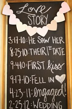 DIY Love Story Chalkboard for shower or wedding.