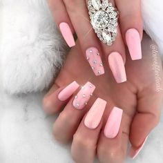 Lovely Nude Coffin Nails With Stones ❤ 35+ Magnificent Coffin Nails Designs You Must Try ❤ See more ideas on our blog!! #naildesignsjournal #nails #nailart #naildesigns #nailshapes #coffinnails #balerinanails #coffinnailshapes