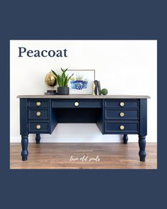 Peacoat from Country Chic Paint is the perfect navy. Paired with brass pulls and a driftwood stained top, this executive desk is a perfect fit for any home office space. #homeoffice Driftwood Stain, Home Office Space, Old Soul, Country Chic, Painted Furniture, Perfect Fit, Brass, Desk, Navy