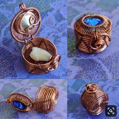 This tooth box is from mid 2016 when my wrapping was still extremely experimental. Entirely wire woven no heat. Complete with working hinge and latch. Thanks for looking friends. Love and light. Wire Jewelry Designs, Handmade Wire Jewelry, Copper Jewelry, Jewlery, Wire Jewelry Making, Wire Wrapped Jewelry, Wire Crafts, Jewelry Crafts, Bijoux Fil Aluminium