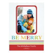 Modern BE MERRY Christmas Flat Card
