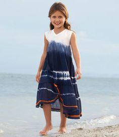 Navy Tie-dye dress. Gathered skirt and asymmetrical back pleats - orange trim. (I want one in my size).