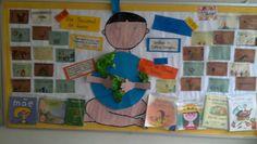 Mural do dia do Índio , Livro Infantil e do Planeta Terra - 1º ano Laranjeiras