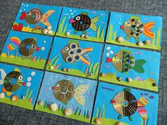 Pie dzintara j? Beach Themed Crafts, Sea Crafts, Fish Crafts, Diy And Crafts, Arts And Crafts, Classroom Art Projects, Craft Projects, Summer Crafts For Kids, Art For Kids