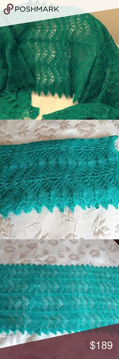 "Hand Knitted Emerald Lace Shawl. Beautiful Shawl with Lace Pattern.  Made of Merino Wool (80%) and Silk (20%). Very soft, cosy and lightweight yarn.  Measurements : 80"" x 20 "" inches. Color - Emerald. Hand Knitted Accessories Scarves & Wraps"