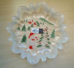 Mikasa Candy Dish Bowl Holiday Landscape Frosted Glass Winter Christmas New Box #Mikasa