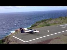 Shortest runway in the world! Landing and take off, Saba airport - YouTube #Caribbean #SABA