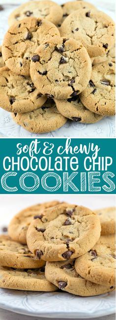 Soft and Chewy Chocolate Chip Cookies: mixed in one bowl with no refrigeration step before baking, these easy chocolate chip cookies are a crowd-pleasing favorite! {Bunsen Burner Bakery} via @bnsnbrnrbakery