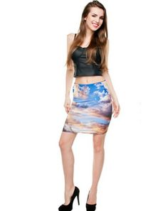 Dark Clouds Bodycon Skirt bluemultiCCAT338 Western Apparel, Body Con Skirt, Western Outfits, Tie Dye Skirt, Women Wear, Clouds, Dark, Skirts, How To Wear