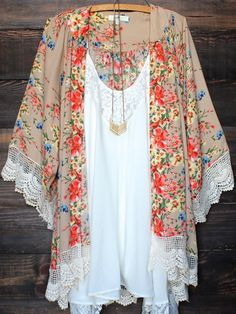 Beige Floral Print Lace 3/4 Sleeve Lace Fringe Cardigan Boho Beach Chiffon Kimono - Outerwears - Tops