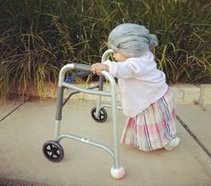 HAHAHA Okay Chels, you be the old man and Roslyn will be the old lady!!  Baby halloween costume: Grandmother