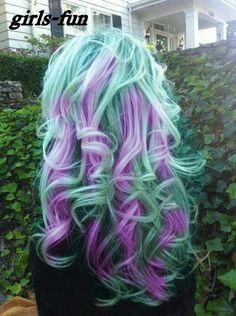 Mint green and purple.