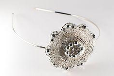 White Crystal Beaded Circle Snowflake Headband by HeartFeltByAviva, $28.00