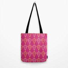 Pink Yarrow Geometric Diamonds Tote Bag by textart #pantone 2017 spring