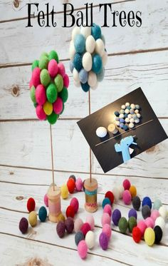 Absolutely adorable felt ball trees ~ perfect for your desk or anywhere you want to plant some fun!