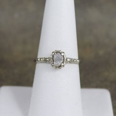 14K White Gold Raw Diamond Engagement Ring Filigree by ASecondTime