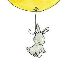Bunny Balloon  lemon yellow and grey 8x10 por trafalgarssquare, $20.00