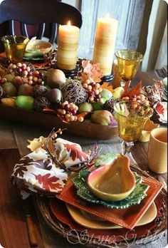 tablescape  -  love the bread bowl full of fruit, leaves. etc.