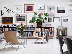 loft interior, pk22 chair, mid century modern, art wall, modern art, living room, white home, arne jacobsen