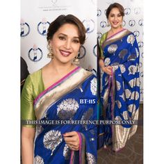 Party wear saree, Madhuri Dixit Blue silk saree for diwali, u neck blouse now in shop. Andaaz Fashion brings latest designer ethnic wear collection in US Bollywood Sarees Online, Bollywood Designer Sarees, Silk Sarees Online, Bollywood Style, Bollywood Actress, Indian Bollywood, Pakistani, Blue Silk Saree, Green Saree