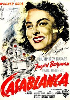 plakat z filmu Casablanca z Humphrey Bogart, Ingrid Bergman Old Movie Posters, Classic Movie Posters, Classic Films, Film Posters, Humphrey Bogart, Romance Movies Best, The Best Films, Ingrid Bergman, Old Movies