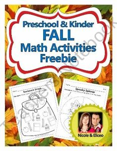 Preschool and Kindergarten Common Core Fall Math Activities Freebie from NicoleAndEliceo on TeachersNotebook.com (8 pages)  - Fun Back-to-School themed graphing activity for kindergarten math.