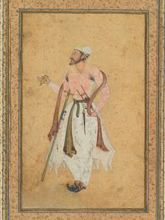 A Mughal courtier, c. border added probably India, Mughal, century opaque watercolor with gold on paper, mounted with gold-sprinkled borders Mughal Miniature Paintings, Mughal Paintings, Islamic Paintings, Fine Art Prints, Framed Prints, Canvas Prints, Middle Eastern Art, Courtier, Cleveland Museum Of Art