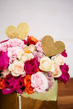centerpieces with glittered heart accent // photo by Izzy Hudgins // styling by Nicole Rene Events
