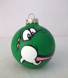 Yoshi Painted Christmas Ornament Super Mario Kart by GingerPots, $18.00