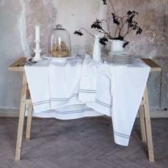 """Tablecloth """"Soho"""" has a simple and pretty design with a pale grey double stripe along the edge.  100% Cotton 150 x 200cm"""