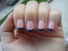 """Navy and Pink French Mani. Great look, fun and not overly cutesy for those of us not so keen on """"nail art""""."""