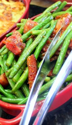 Candy Bacon Green Bean Stir Fry - SPECTACULAR and EASY - 52 Simple But Next Level Dishes...    This dish is SOOOOO Easy, Only FOUR Ingredients, but the taste will become a family special event favorite.  The Beans are crisp quick fried in garlic and bacon with just a bit of brown sugar added to caramelize the whole dish!  Tastes like vegetable candy and is AMAZING!!!