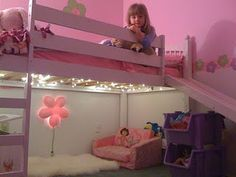 Put some lights under a loft bed to make a reading area