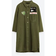 PATCH SHIRT DRESS - TOPS-TRF | ZARA United States (160 BRL) ❤ liked on Polyvore featuring dresses, shirt dress, t-shirt dresses, green shirt dress, long shirt dress and belgique