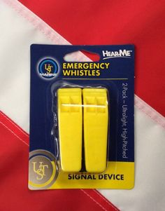 UST Marine Emergency whistles 2pk disaster hike prepper camp signal device yello #USTMarine