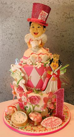 "Cake - ""Alice in Wonderland"" theme for a baby's first birthday, topsy style. Cory"